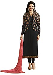Justkartit Women's Decent Semi-Stitched Black & Golden Colour Koti (Jacket) Style Dress Material / Authentic Sequence Embroidery With Naznin Dupatta / Formal & Party Wear Dress Material