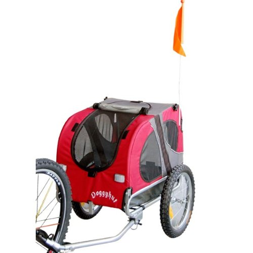 DOGGYHUT Medium Dog Pet Bicycle Trailer in Red 10115-01