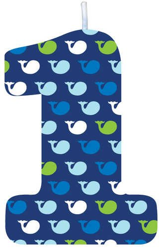 Creative Converting Ocean Preppy Boy 1St Birthday Molded Candle - 1