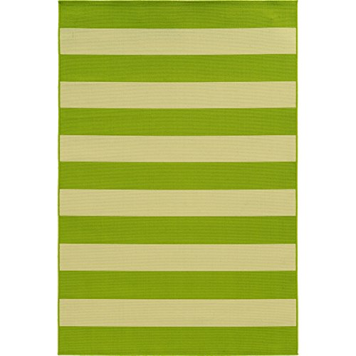 Oriental Weavers Lime Green & Ivory Outdoor Striped Rug