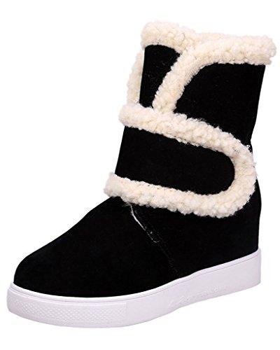 Minetom Donna Inverno Velcro Pelliccia Neve Stivali Snow Boots Stivali Cavaliere Antiscivolo Scarpe Basse Cuneo Nascosto Nero EU 39