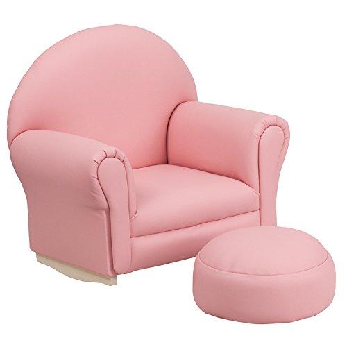 Flash Furniture Kids Pink Vinyl Rocker Chair and Footrest