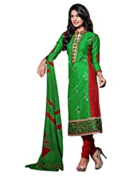 Varanga Green Embroidered Dress Material with Matching Dupatta KFCRI3609