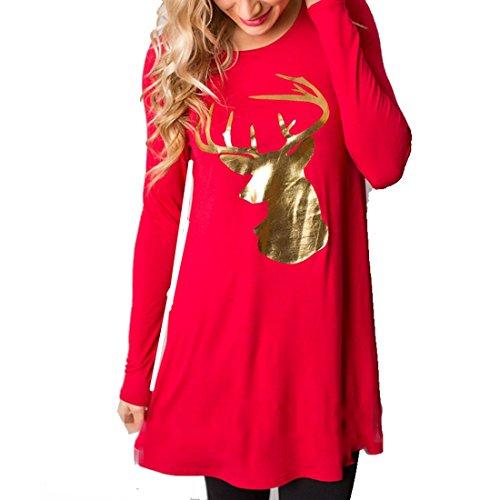 FCYOSO Christmas Dress Women Round Collar Elk Casual Dress