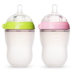 Comotomo Baby Bottle, Green/Pink, 8 Ounce, 2-Count