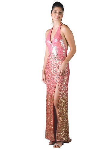 Formal Evening Gown. Silk Sequin Halter Dress for Prom, Party, Wedding by Sean Collection (70083)