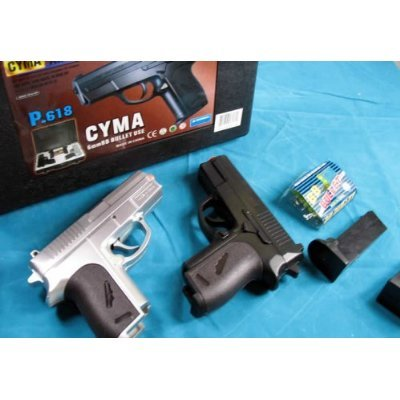 CYMA Airsoft Pocket Pistols w/ Case (Silver and Black)
