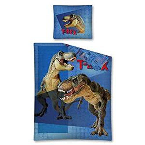 Parure-de-lit-Parure-de-lit-pour-enfant-160-x-200-cm-Dinosaure-T-Rex-Bleu