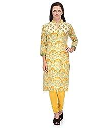 BPT Stylish Yellow Printed Cotton Women's Kurti ( Size XXL / 44