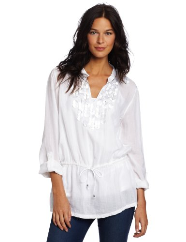 Calvin Klein Jeans Womenu0026#39;s Petite Woven Kurta Shirt  White Petite Medium $46.94