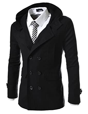 Buy TheLees Mens casual double slim cotton hood trench coat