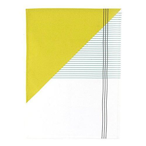 HOUSE DOCTOR Af0900 Geschirrtuch 'Geo', 50x70cm, 100% Baumwolle, Farbe:gelb/weiss/grün/grau