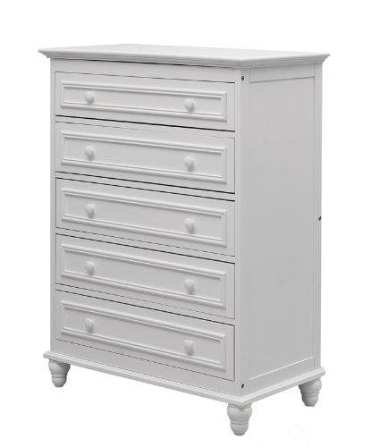 Dream On Me Del Ray 5 Drawer Dresser, White