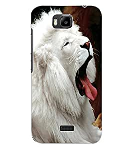 ColourCraft White Lion Design Back Case Cover for HUAWEI HONOR BEE