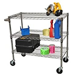 TRINITY NSF 3-tier All-purpose 40&quot; Wide Chrome Storage Cart