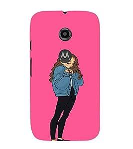 EPICCASE Shy Girl Mobile Back Case Cover For Moto E 2nd Generation (Designer Case)