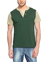 Hot Pepper Men's Cotton Henley Vneck Half Sleeve T-shirt - Bottle Green