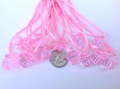 "24 Pcs 1"" Mini Pink Fancy Plastic Pacifier Necklaces ""Don'T Say Baby!"" For Baby Shower Party Game/ Favors front-401037"