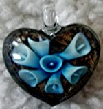 Murano Style Heart with Blue Flowers Pendant + FREE RIBBON NECKLACE + GIFT BOX