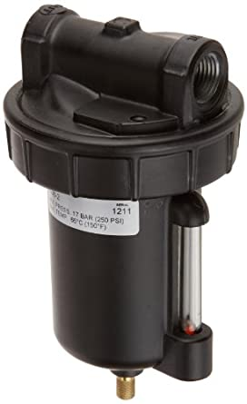 "Alemite 5608-2 Moisture Separator, 1/2"" NPTF(f) Inlet/Outlet, 110 cfm Air Flow @ 100 psi Inlet Pressure, 8 oz Bowl Capacity, 1/2"" Female NPTF"
