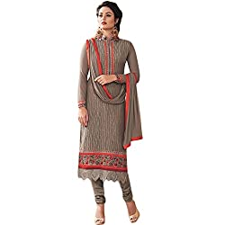 Latest Wize Beige Straight Cut Embroidered Georgette Party Dress Material with Chiffon Dupatta