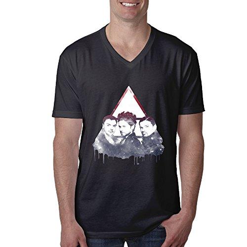 NICKY Men's 30 Seconds To Mars Short Sleeve V-Neck Shirts Color BlackSize XXL