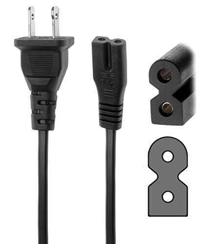 Pwr+® 6Ft 2 Prong Polarized Power Cord for Singer CE-150, CE-250, CE-350, 9940; Curvy 8780; Brother CE4000, CS100t, BC2500, BC2300, BC2100, BC1000 Sewing Machine AC Wall Cable