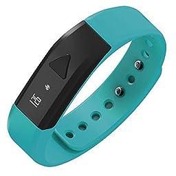 Juboury Universal Bluetooth Smart Activity Watch with Pedometer and Sleep Tracker (Green-Blue)
