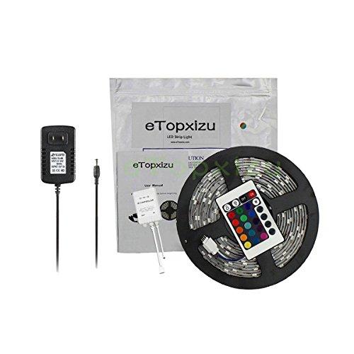 Etopxizu 16.4Ft Smd 3528 Waterproof 300Leds Rgb Flexible Led Strip Light Color Changing Kit 24Key Ir Remote Controller 12V2A Power Supply