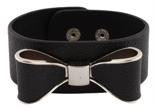 Black with Silver Genuine Leather Bow Style Adjustable Snap Bracelet