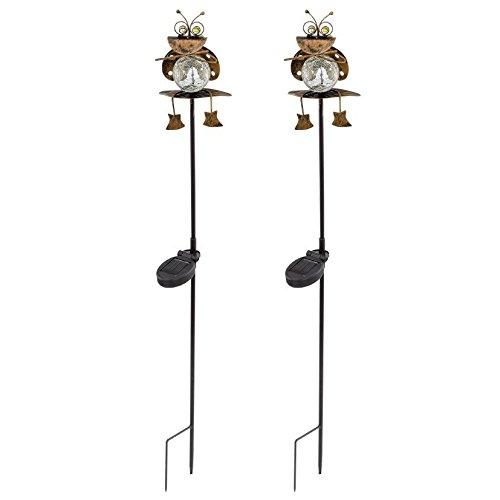 set-di-2-led-lampada-solare-beetle-motivo-plug-in-lampada-giardino-illuminazione-esterna-rame-colora