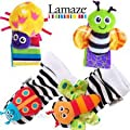 LAMAZE WRIST RATTLE AND FOOT FINDER (4pcs set) EDUCATIONAL STIMULATING PLUSH SOFT TOY