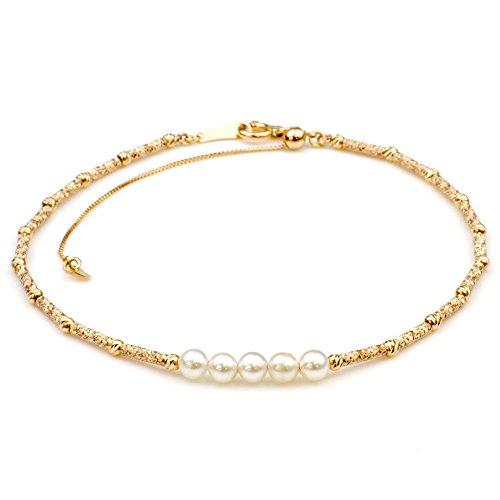 nadi K18PG 3.5-4.0mm ベビーパール ピンクゴールド ステーションブレスレット アコヤ真珠 約22m 18K Pink Gold baby Akoya Cultured Pearl Bracelet