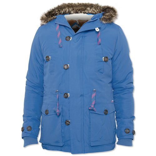 Bellfield Mens Blue Tottori Designer Parka Fur Coat Jacket Blue XX-Large