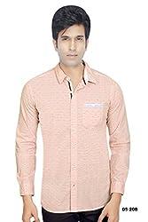 Orange Cotton Horizontal stripe with Motif Shirt