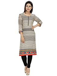 Tanvi Off White Cotton Straight Kurti For Women