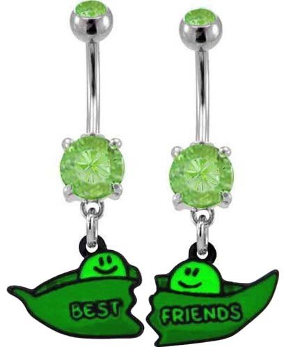 Lt Green Two Peas In A Pod Best Friend Dangle Set Belly Ring - 316L Implant Grade Surgical Steel 14G 14 Gauge- Sold As A Set