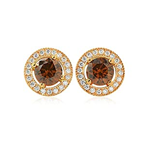 1.33Cts Champagne Diamond Halo Earrings Set in 18K Rose Gold IGI Certified