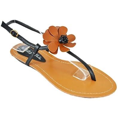 Kiss & Tell Women's Shari -23 Flat Sandals, Black, 7 M US