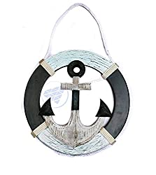 Nautical Antique Rustic Wooden Life Ring With Pine Wood & Ropes| Nautical Home Decor Gift | Nagina International (42 Inches)