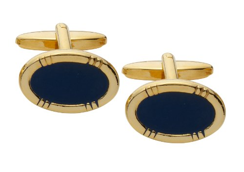 Code Red Oval Gold Plated Cufflinks with Navy Enamel