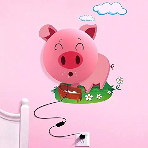 Alrens_DIY(TM)Novelty Cartoon Smile Pink Pig DIY 3D Wallpaper Wall Stickers Home Room Decor Decoration LED Night Light Lamp for Kids' Bedroom