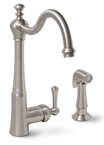 Premier 120025LF Sonoma Lead-Free Single-Handle Kitchen Faucet with Matching Side Spray, Brushed Nickel (Antique Nickel Faucet compare prices)