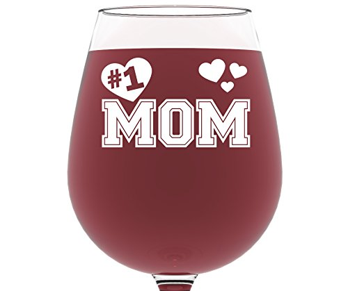 Number 1 Mom Wine Glass 13 oz - Best Christmas Gifts for Mom - Unique Birthday Gift For a New Mother - Perfect Xmas Present Idea For Her, Women, Wife, Girlfriend, Sister, From Son or Daughter