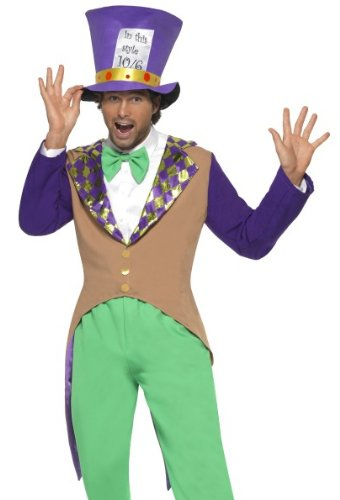 Smiffys Mens Mad Hatter Alice in Wonderland Halloween Costume Medium
