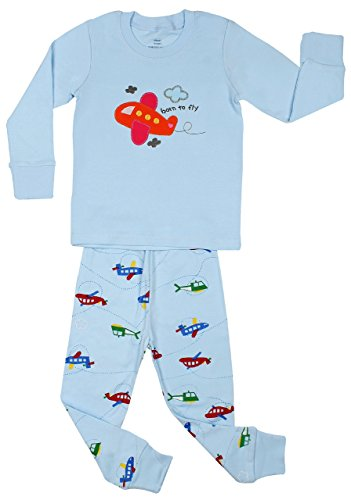 Elowel Boys Quot Airplane Quot 2 Piece Pajama Set 100 Cotton