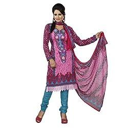 Khazana Women's Unstitched Dress Material (khazana-pk-01_Pink_Free Size)