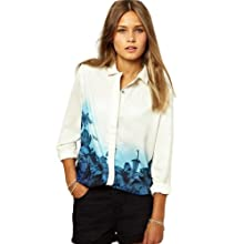 Women Chiffon Lapel Floral Printed Button T-shirt Long Sleeve Blouse Tops