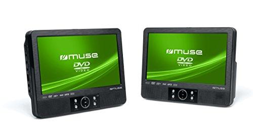 Muse M-995 CVB tragbarer DVD-Spieler (22,9 cm (9 Zoll) Display, SD/MMC-Kartenleser, AV-Ausgang, AV-Eingang, DVD+/-RW, CD+/-RW) mit 2x DVD-Spielern und 2x Bildschirmen schwarz