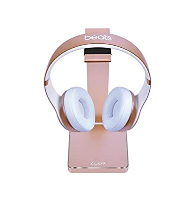 LUXA2 E-ONE Gold Aluminum Headphone Stand for Beats, Sony, Sennheiser, Philips, Audio-Technica, Plantronics, Bose, JVC, Gaming, and DJ Professionals